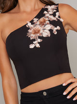Embellished One Shoulder Crop Top in Black