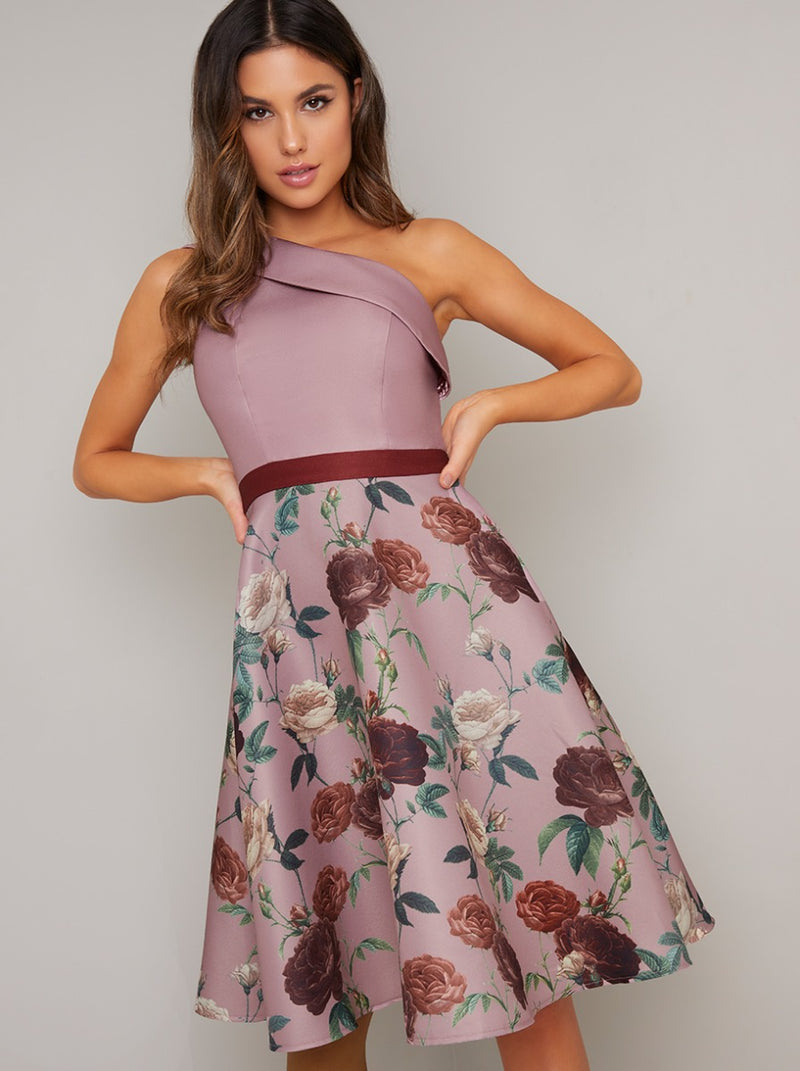 One Shoulder Contrast Midi Dress in Pink