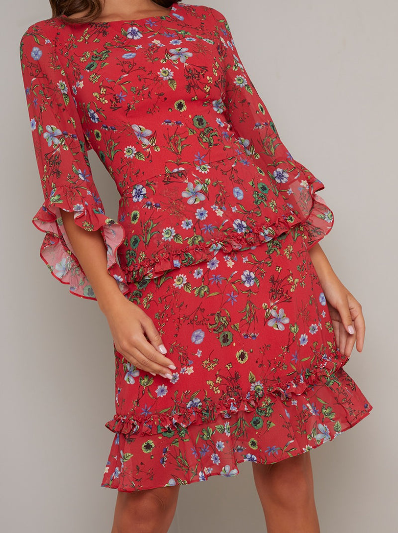 Printed Fluted Sleeved Midi Dress in Red