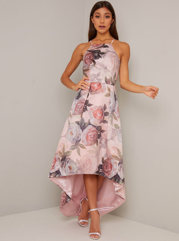 Cami Strap Floral Print Dip Hem Midi Dress in Pink