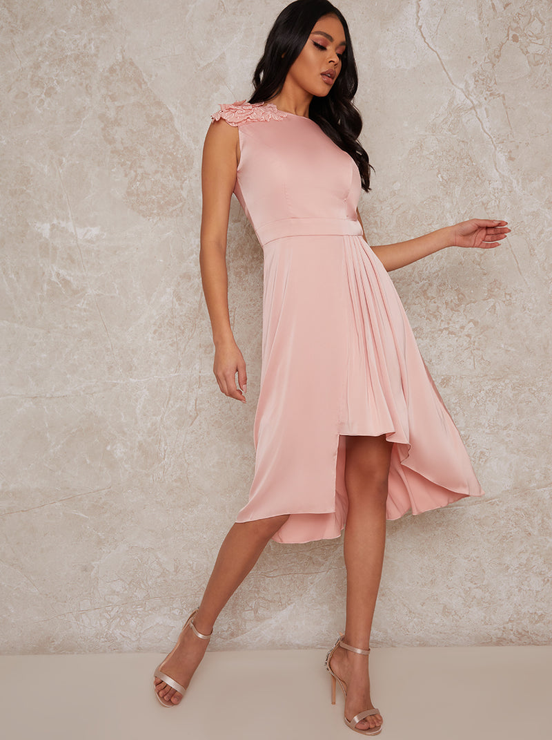 Sleeveless Dip Hem Midi Dress in Rose Gold
