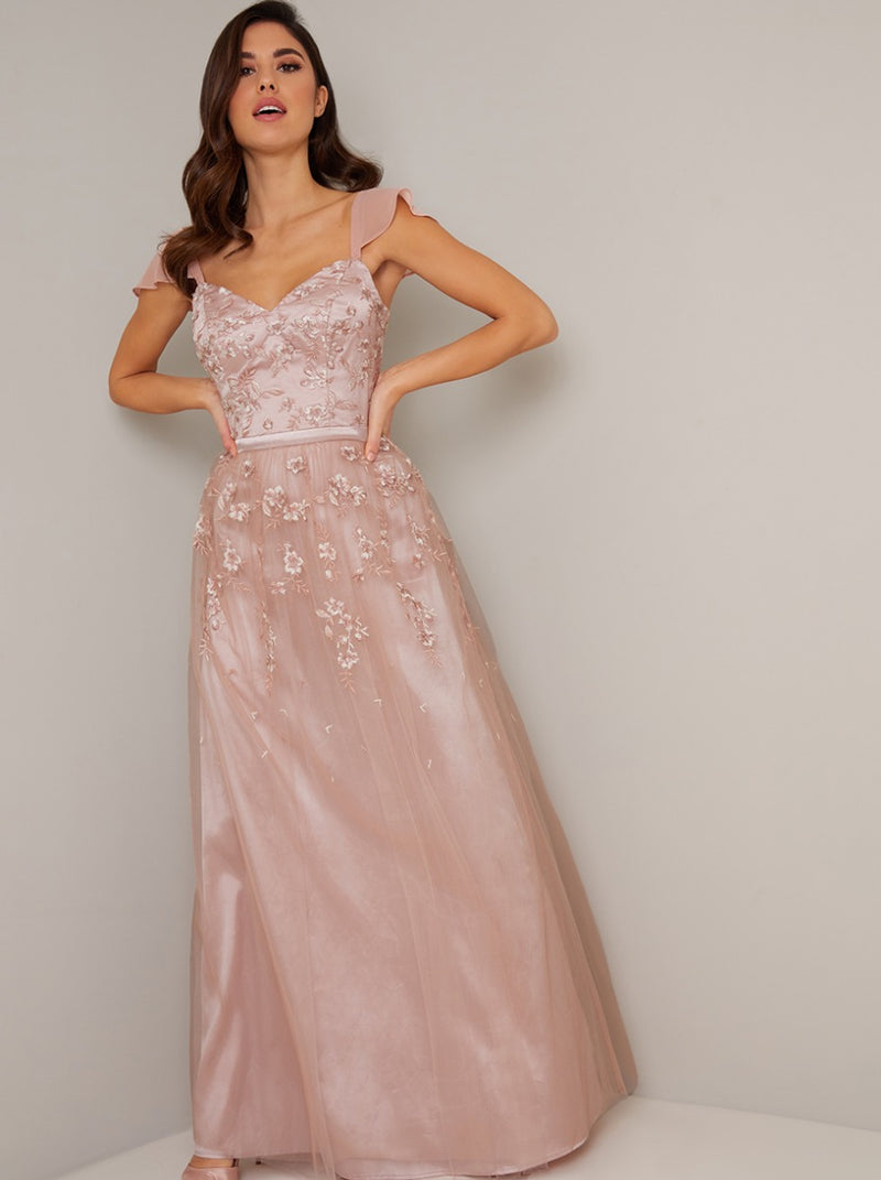 Embroidered V Neck Chiffon Sleeve Maxi Dress in Pink