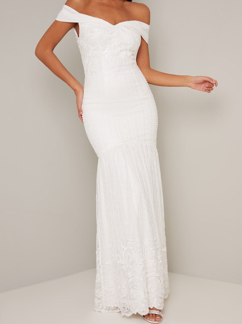 Bridal Beaded Embellished Lace Wedding Dress in White