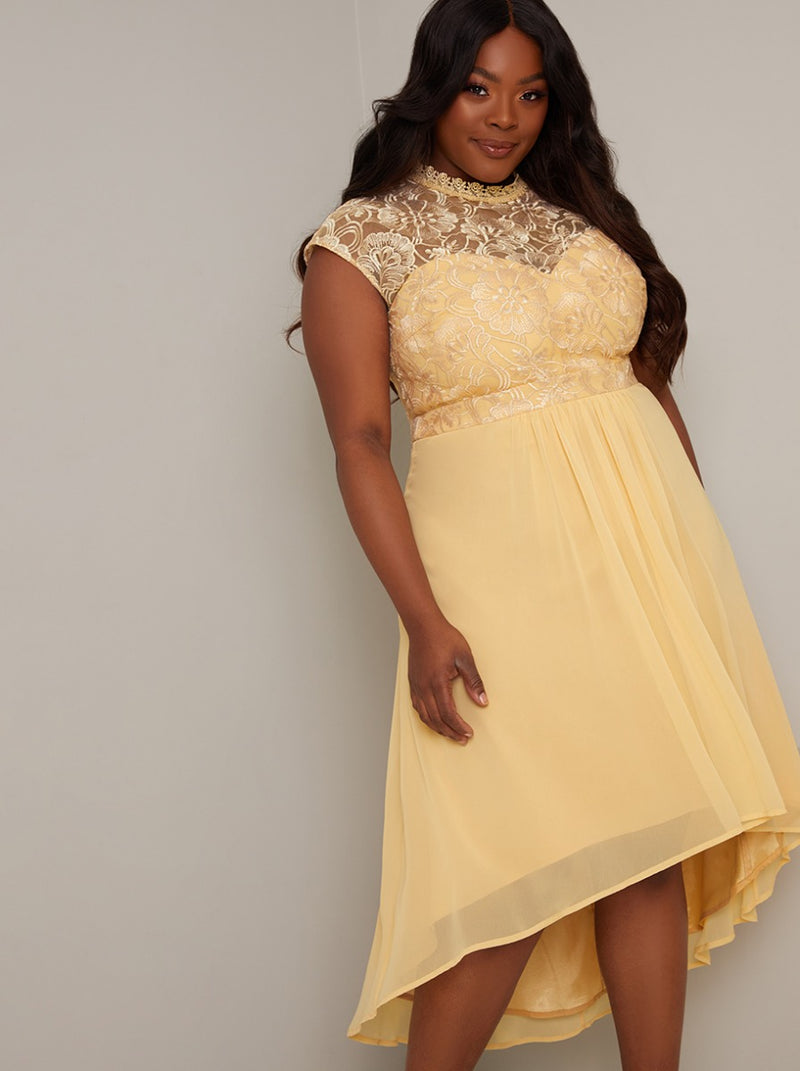 Plus Size Lace Bodice Midi Dress in Yellow
