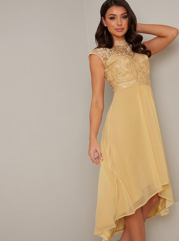 High Neck Lace Bodice Dip Hem Midi Dress in Yellow