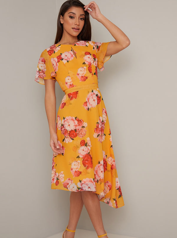 Angel Sleeve Floral Print Midi Dress in Yellow