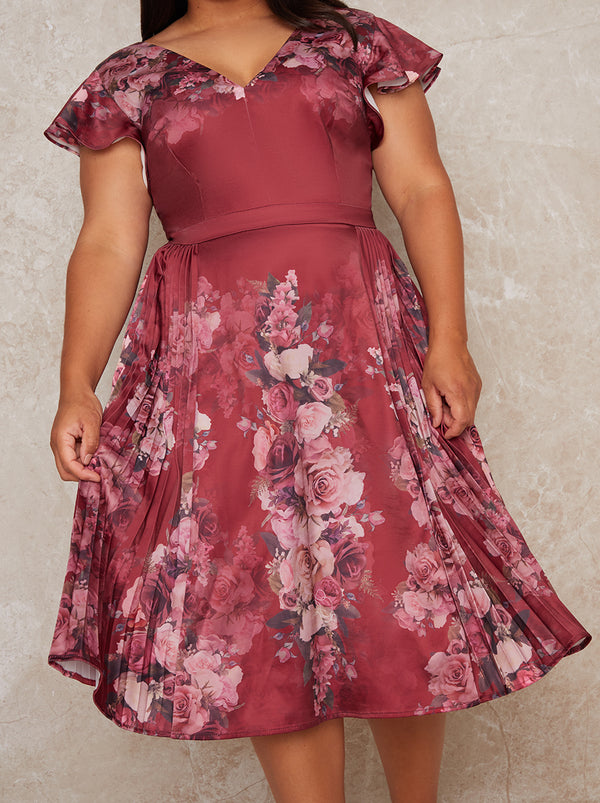 Plus Size Floral Pleat Midi Dress in Red