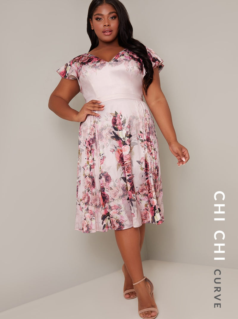 Plus Size Floral Printed Pleat Midi Dress in Pink
