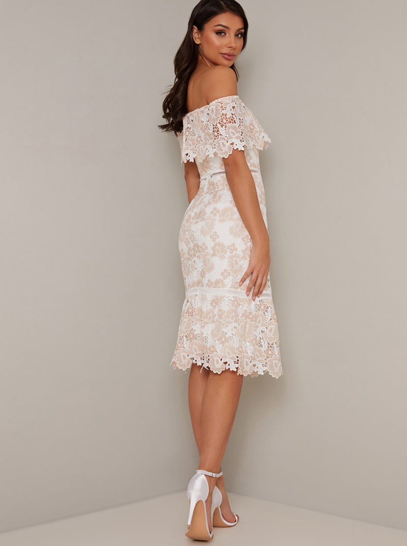 Bardot Crochet Lace Bodycon Midi Dress in Pink