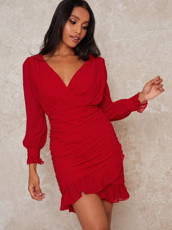 Petite Ruched Long Sleeve Mini Dress in Red