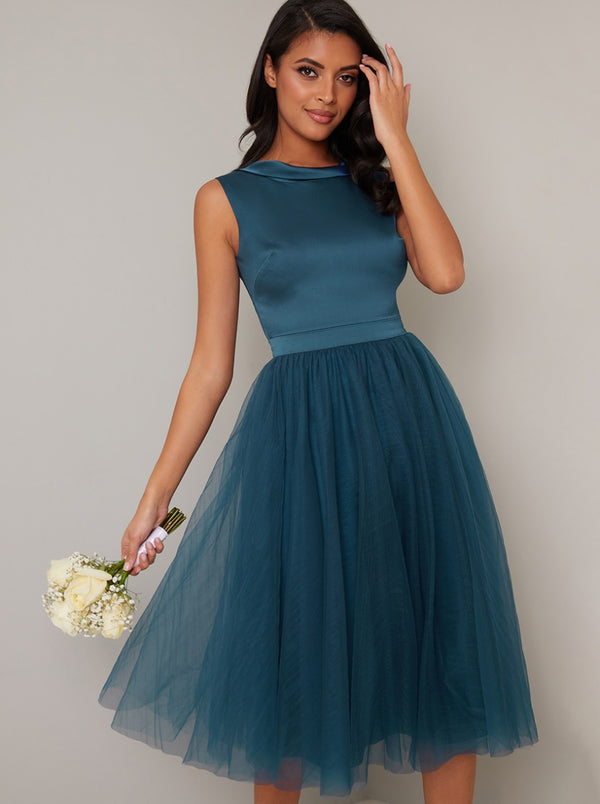 High Neck Tulle Midi Bridesmaid Dress in Green
