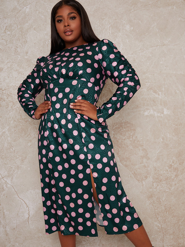 Plus Size Long Sleeve Polka Midi Dress in Green