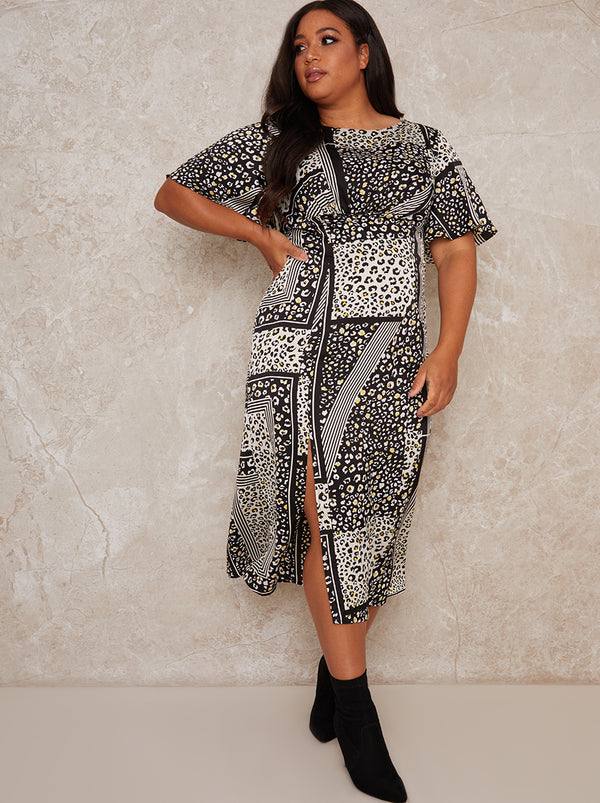 Plus Size Animal Print Midi Dress in Monochrome