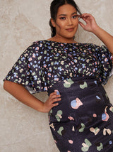 Plus Size Abstract Midi Dress with Angel Sleeves in Navy