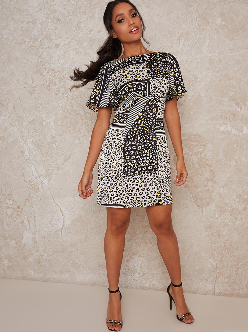Petite Animal Print Mini Dress in Mono