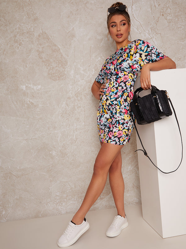 Flutter Sleeve Floral Print Mini Dress in Black