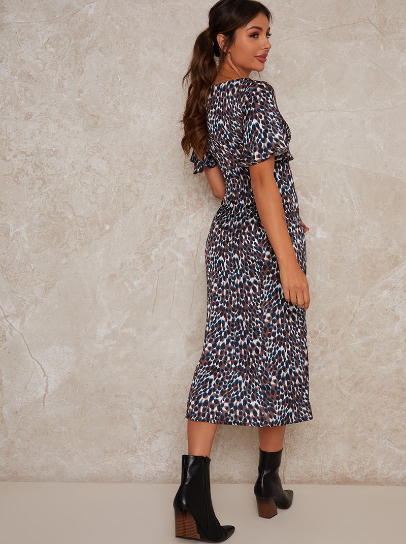 Angel Sleeve Midi Animal Print Midi Dress in Multi
