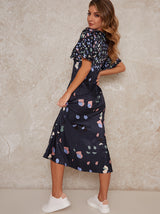 Abstract Midi Dress with Angel Sleeves in Navy