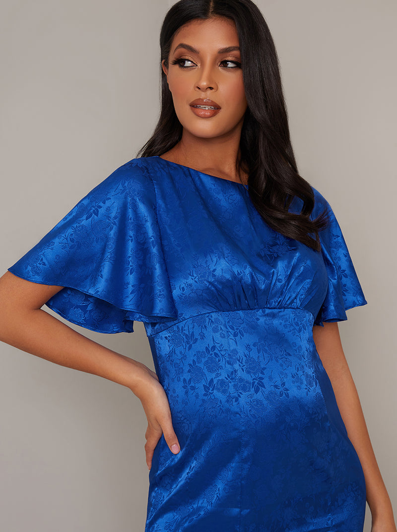 Maternity Angel Sleeve High Waist Midi Dress in Blue