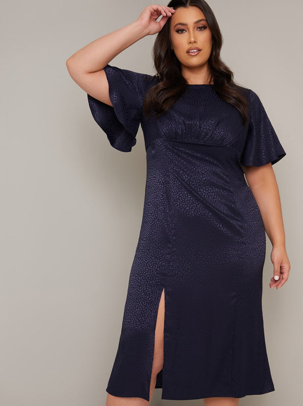 Jaquard Angel Sleeve Curve Midi Day Dress in Blue