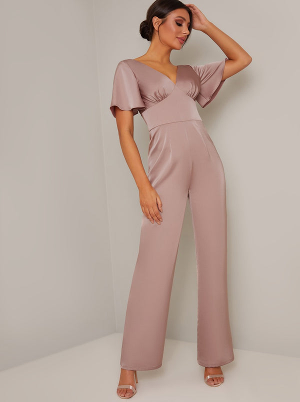 Fluted Sleeve Straight Leg Jumpsuit in Pink
