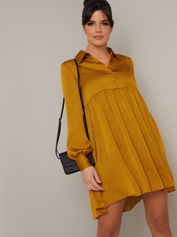 Satin Feel Long Sleeved Shirt Dress in Yellow