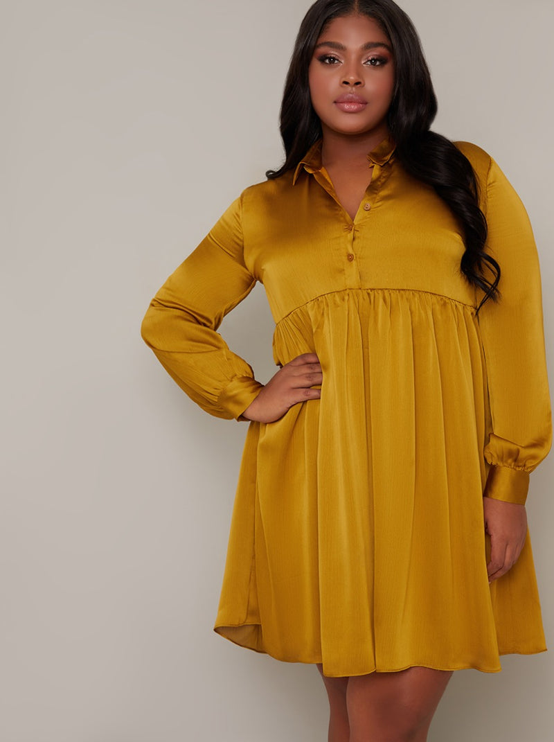 Plus Size Long Sleeved Satin Shirt Dress in Yellow