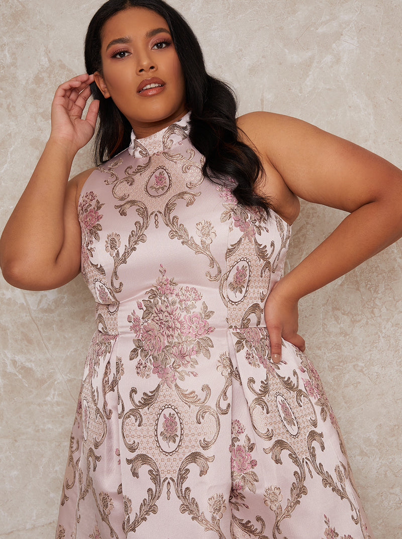 Plus Size Sleeveless Jacquard Midi Dress in Pink