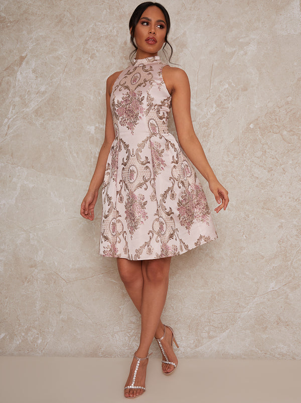 Sleeveless Jacquard Mini Dress in Pink