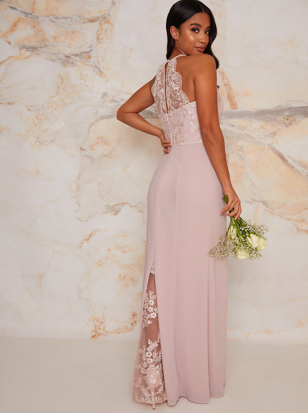 Lace Bridesmaid Bodycon Maxi Dress In Pink