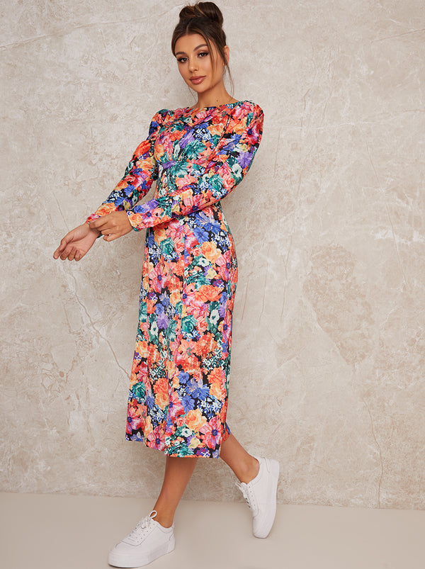 Long Sleeve Floral Print Midi Day Dress in Multi
