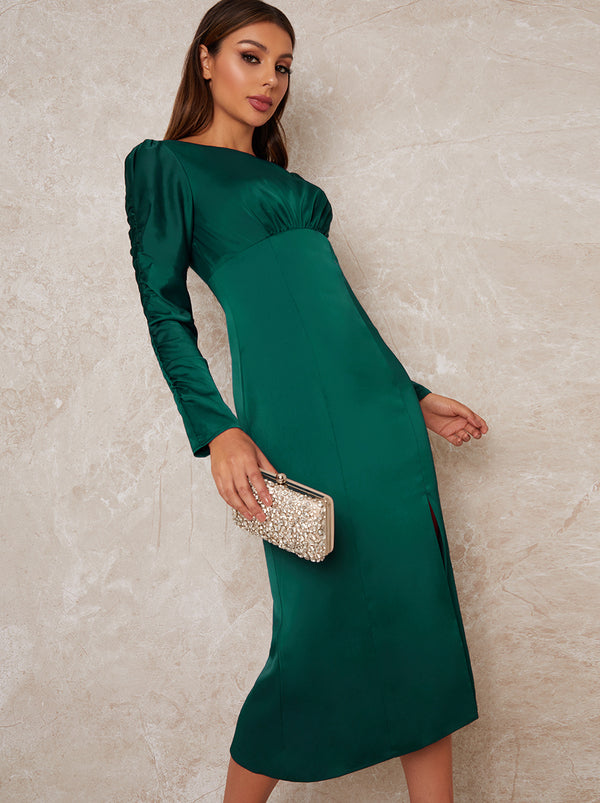 Slip Style Long Puff Sleeve Midi Dress in Green