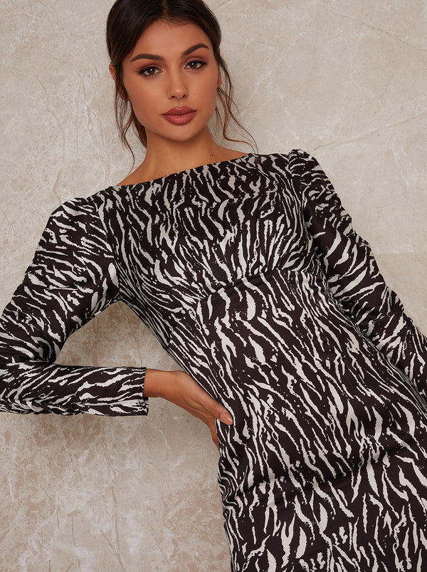 Animal Print Long Sleeve Midi Dress in Monochrome