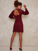 High Neck Long Sleeve Lace Crochet Mini Dress in Red