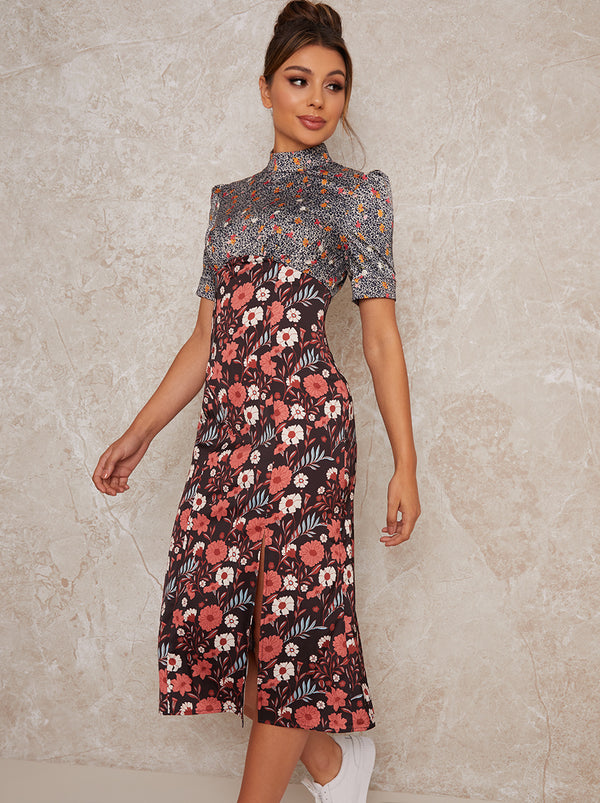 High Neck Short Sleeve Mix Floral Midi Dress in Black