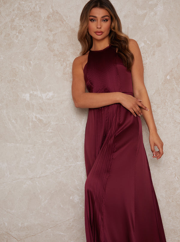 High Neck Pleat Satin Maxi Dress in Purple