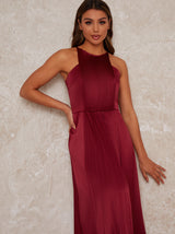 Bridesmaid Maxi Dress with Wrap Style in Red