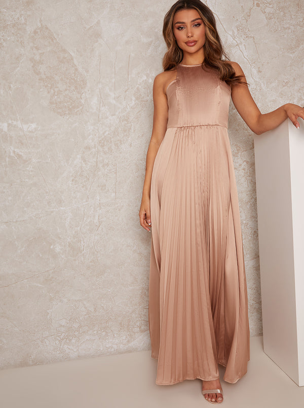 High Neck Pleat Satin Maxi Dress in Champagne