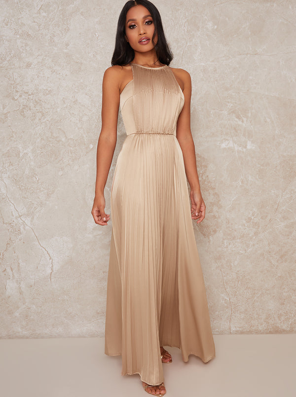 Petite High Neck Pleat Satin Maxi Dress in Champagne