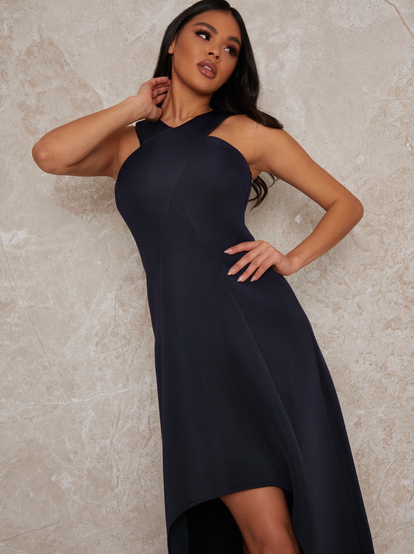 Halterneck Side Split Maxi Dress in Blue