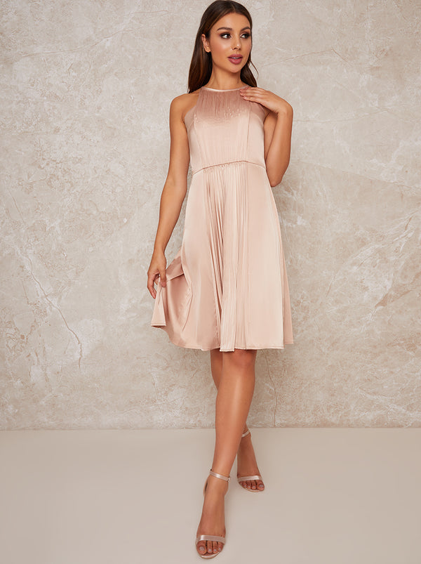 Halter Style Satin Pleat Midi Dress in Neutral