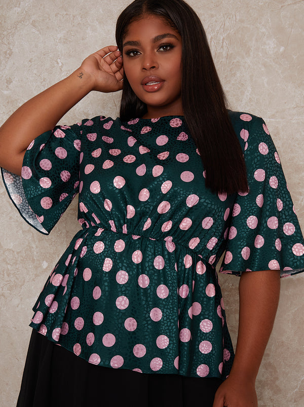 Plus Size Angel Sleeve Polka Dot Top in Green