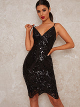 Cami Strap Sequin Midi Dress in Black