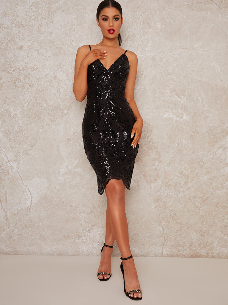 Sequin Bodycon Party Dress with Plunge Neck in Black