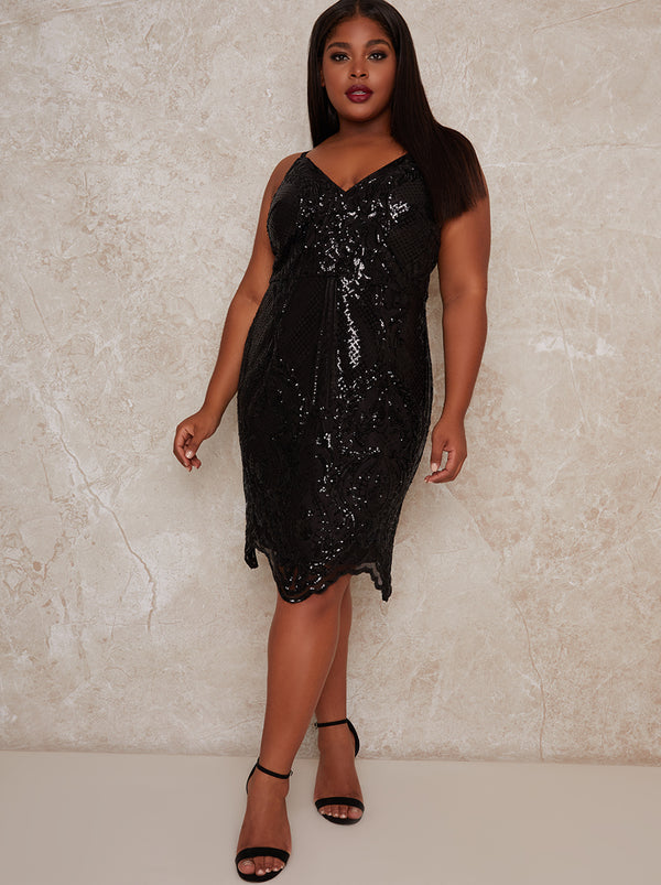 Plus Size Cami Strap Sequin Midi Dress in Black