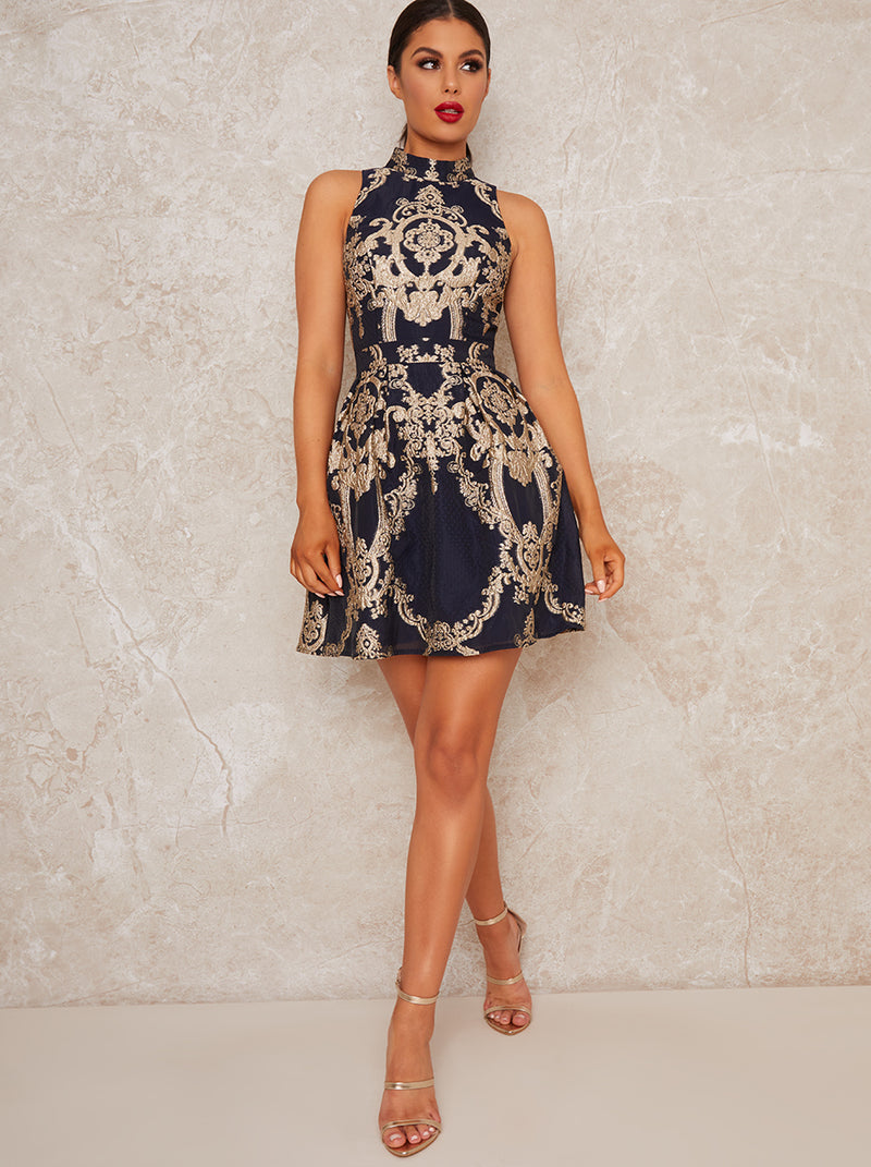 Mini Dress with Floral Jaquard Design in Blue