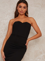 Bardot Bodycon Party Dress with Peplum Design in Black