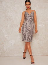 Sequin Bodycon Party Dress with Cami Straps in Silver