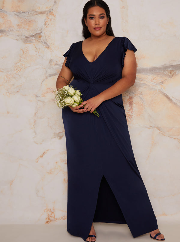 Plus Size Frill Sleeve Chiffon Maxi Dress In Blue