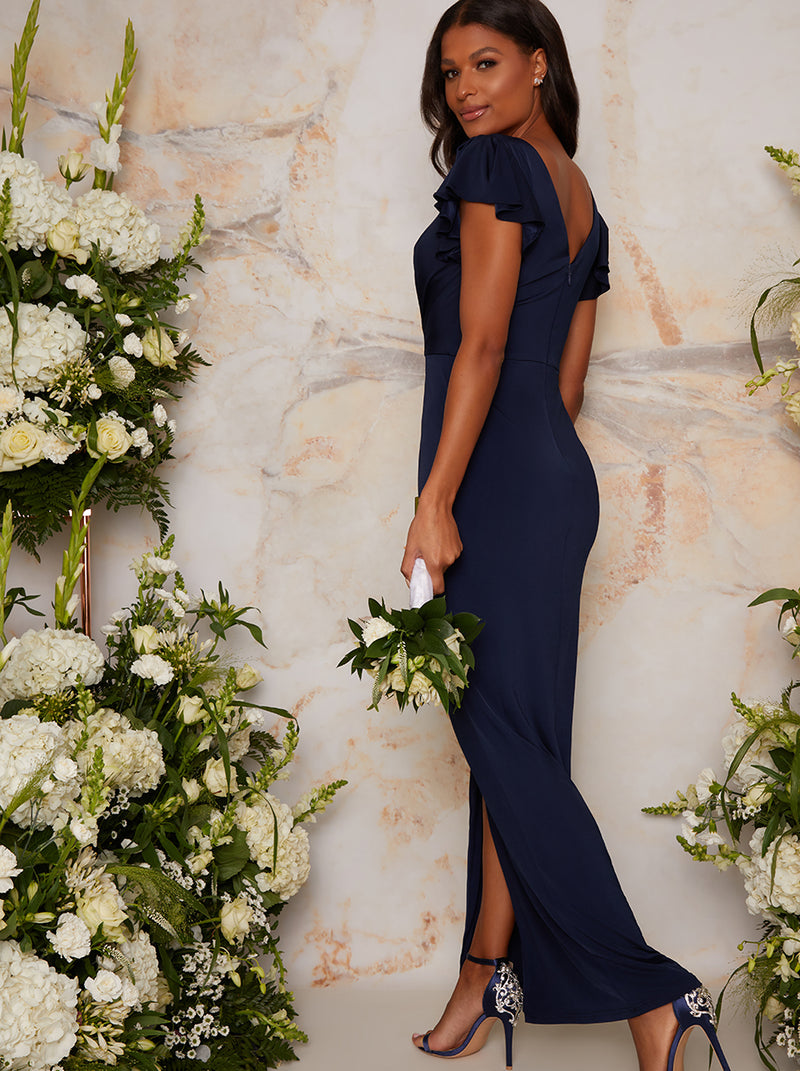 Ruffle Sleeved Bodycon Maxi Dress in Navy Blue